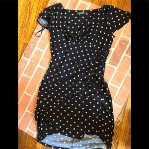 Creme and blue polka dot Ralph Lauren ruched dress